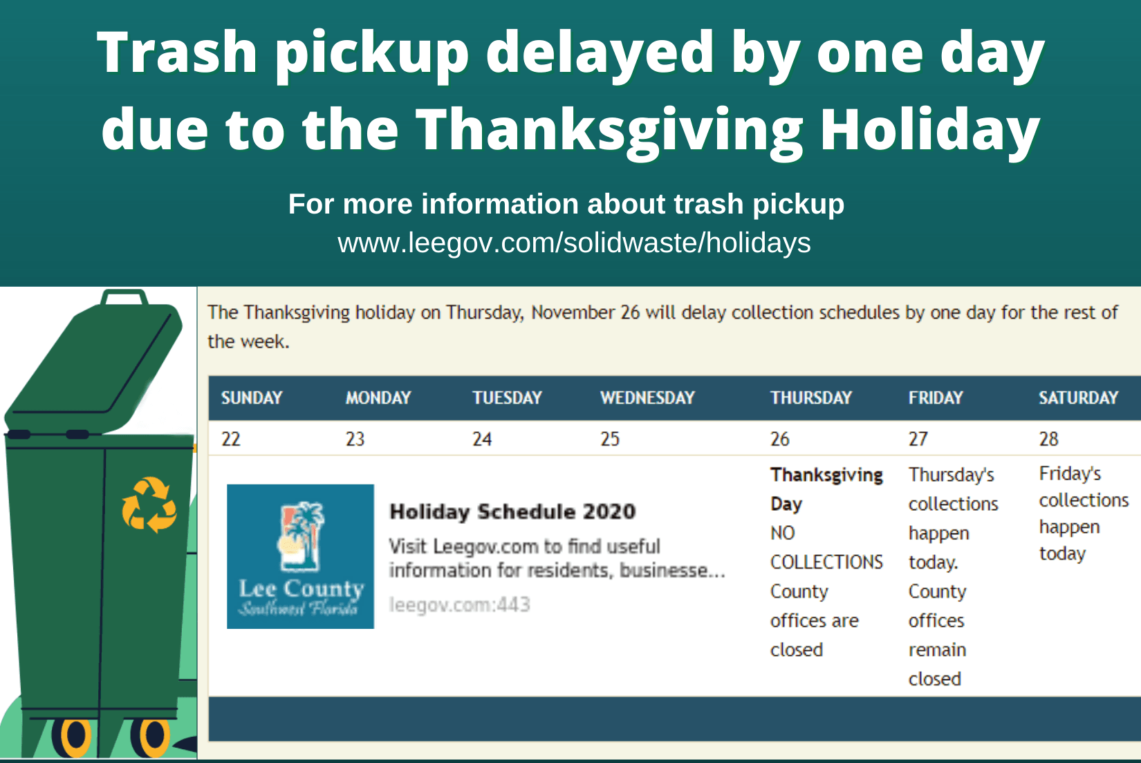 trash pickup delayed due to thanksgiving 2020